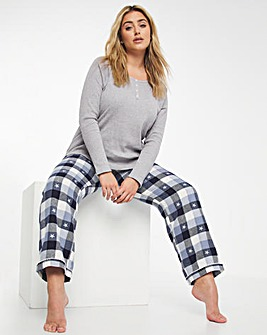 Pretty Secrets Rib Long Sleeve Top & Woven Check Trouser & Scrunchie Set