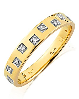 9ct Gold Gents Diamond Wedding Band