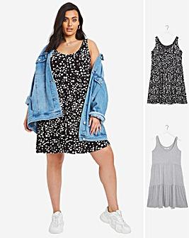 2 Pack Black Spot/Grey Marl Tiered Smock Dress