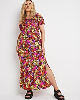 Ditsy Floral Shirred Bardot Maxi Dress with Split