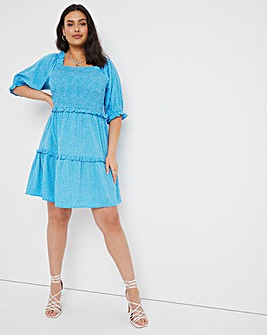 Blue Spot Shirred Puff Sleeve Tiered Smock Dress
