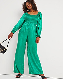 Green Jacquard Shirred Jumpsuit