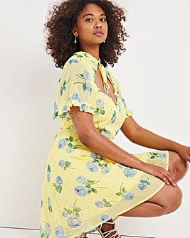 Yellow Floral Print Cut Out Skater Dress with Tie Detail