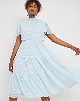 Blue Tiered Chevron Detail Midi Dress