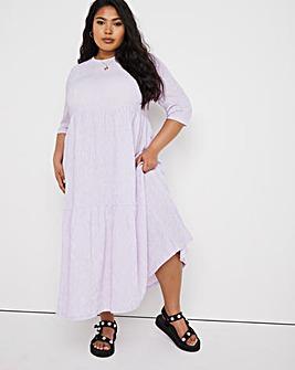 Lilac Gingham Waffle Tiered Midi Dress