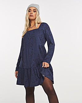 Navy Animal Supersoft Jersey Square Neck Tiered Smock Dress