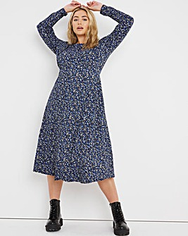Blue Ditsy Supersoft Jersey Midi Dress