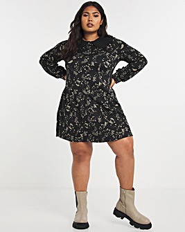 Black Paisley Supersoft Jersey Collar Detail Swing Dress