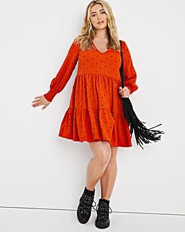 Rust Spot Tiered Trapeze Dress