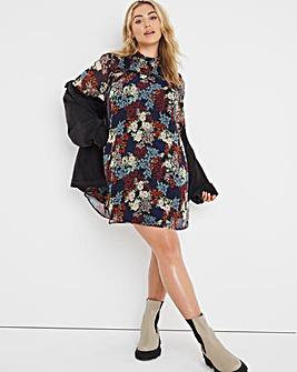Vintage Floral Shirred Swing Dress