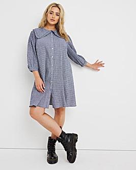 Blue Collar Detail Swing Shirt Dress