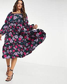 Oversized Floral Satin Square Neck Midi Dress
