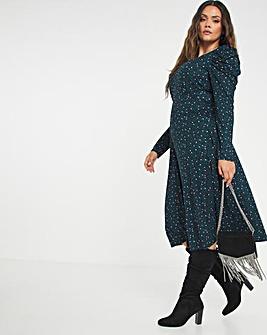 Black Heart Print Supersoft Jersey Square Neck Midi Dress