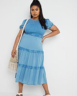 Washed Viscose Shirred Midi Dress