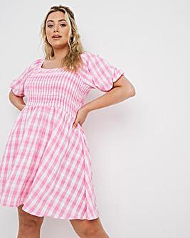 Pink Gingham Smock Dress