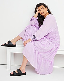 Lilac Embroidered Maxi Dress