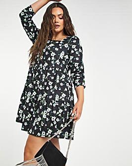 Black Floral Supersoft Jersey Square Neck Tiered Smock Dress