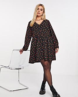 Spot Print Button Through Smock Dress