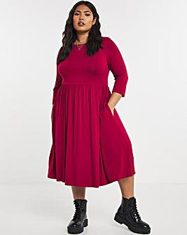 Wine Half Sleeve Pocket T-Shirt Midi Dress