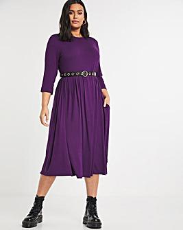 Blackcurrant Pocket T-Shirt Midi Dress