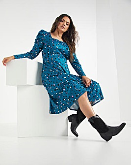 Teal Print Supersoft Jersey Square Neck Midi Dress