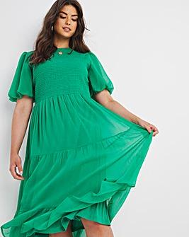 Green Shirred Chiffon Tiered Midi Dress