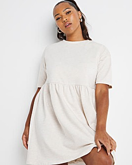 Oatmeal Short Sleeve Sweat Smock Dress