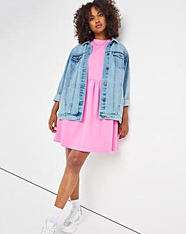 Pink Short Sleeve Sweat Smock Dress