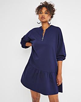 Navy Long Sleeve Zip Up Sweat Smock Dress