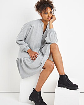 Grey Marl Long Sleeve Zip Up Sweat Smock Dress