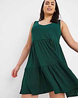 Bottle Green Ribbed V Neck Tiered Smock Dress