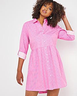 Pink Stripe Smock Shirt Dress