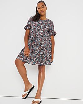 Black Floral Frill Sleeve Smock Dress