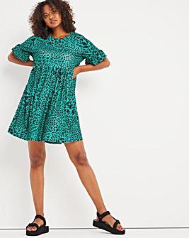 Green Print Frill Sleeve Smock Dress