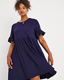 Navy Frill Sleeve Smock Dress