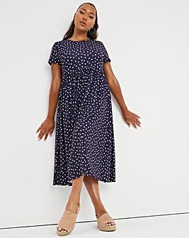Navy Spot Short Sleeve Smock Midi Dress with Side Pockets