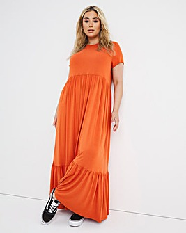 Jersey Short Sleeve Tiered Smock Maxi T-Shirt Dress