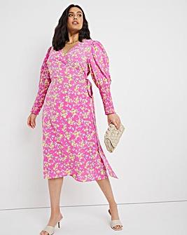 Pink Ditsy Print Wrap Midi Dress with Shirred Cuff
