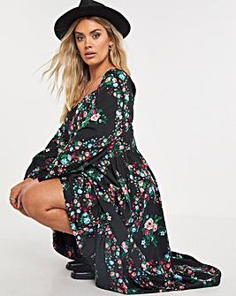 Floral Print Square Neck Tiered Midi Dress