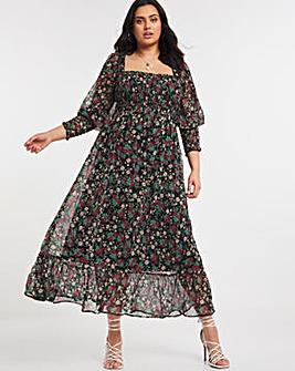 Floral Print Long Sleeve Shirred Chiffon Maxi Dress