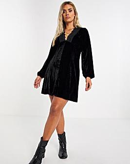 Black Velour Tea Dress with Lace Trim