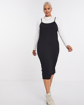 Black/White 2 in 1 Jersey Dress