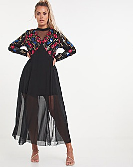Premium Embroidered Maxi Dress with Lace Inserts