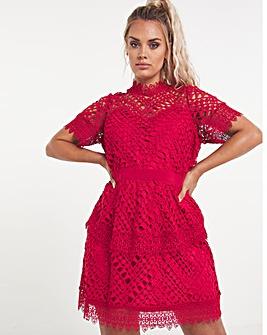 Red Premium Stretch Lace Dress