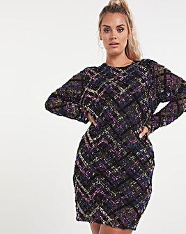 Black Premium Velour Super Stretch Sequin Plunge Dress