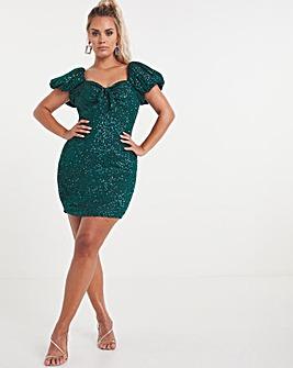 Premium Super Stretch Sequin Dress with Puff Sleeve