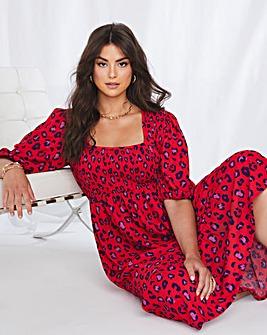 Emma Mattinson Red Leopard Square Neck Shirred Waffle Tiered Midi Dress