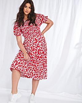 Emma Mattinson Red Leopard Shirred Midi Dress
