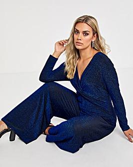 Cobalt Glitter Knit Jumpsuit