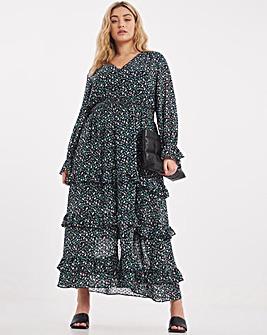 Printed Dobby Chiffon Maxi Dress